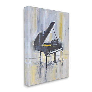 Stupell Industries  Distressed Grand Piano Instrument Blue Gold, 36 x 48, Canvas Wall Art, Blue, large