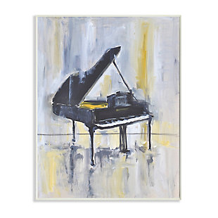 Stupell Industries  Distressed Grand Piano Instrument Blue Gold, 13 x 19, Wood Wall Art, Blue, large
