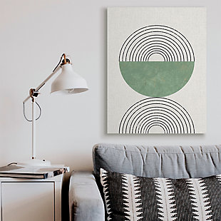 Stupell Industries  Abstract Geometric Circular Study Curved Art Deco, 36 x 48, Canvas Wall Art, Beige, rollover