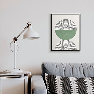 Stupell Industries  Abstract Geometric Circular Study Curved Art Deco, 24 x 30, Framed Wall Art, Beige, rollover
