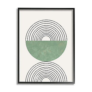 Stupell Industries  Abstract Geometric Circular Study Curved Art Deco, 24 x 30, Framed Wall Art, Beige, large