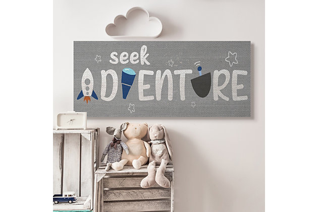 Stupell Industries Seek Adventure Phrase Outer Space Imagination, 20 X 48, Canvas Wall Art, Gray, large