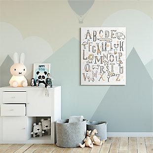 Stupell Industries  Nursery Animal Alphabet Chart Soft Orange White, 36 x 48, Canvas Wall Art, White, rollover