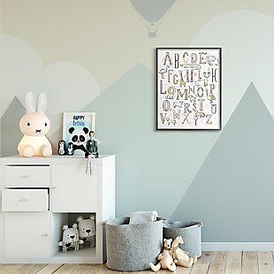 Stupell Industries  Nursery Animal Alphabet Chart Soft Orange White, 24 x 30, Framed Wall Art, White, rollover
