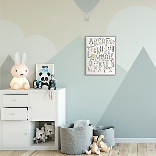 Stupell Industries  Nursery Animal Alphabet Chart Soft Orange White, 16 x 20, Framed Wall Art, White, rollover