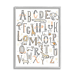 Stupell Industries  Nursery Animal Alphabet Chart Soft Orange White, 16 x 20, Framed Wall Art, White, large