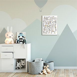 Stupell Industries  Nursery Animal Alphabet Chart Soft Orange White, 13 x 19, Wood Wall Art, White, rollover