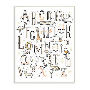 Stupell Industries  Nursery Animal Alphabet Chart Soft Orange White, 13 x 19, Wood Wall Art, White, large
