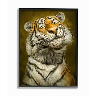 Stupell Industries  Happy Tiger Funny Large Cat Animal Painting,16 x 20,  Framed Wall Art, , large
