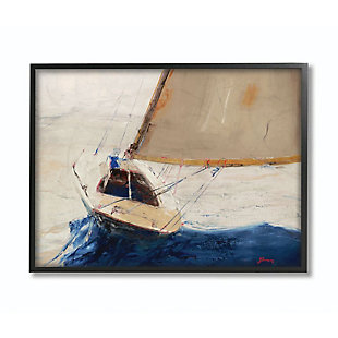Stupell Industries  Ocean Sailboat Soaring Impressionist Abstract Yellow Blue Beach Painting,11 x 14,  Framed Wall Art, , large