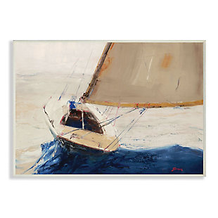 Stupell Industries  Ocean Sailboat Soaring Impressionist Abstract Yellow Blue Beach Painting,13 x 19,  Wood Wall Art, , large