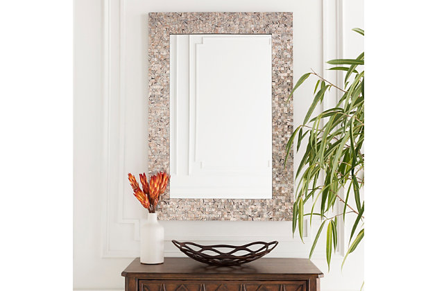 """Whitaker Gray Mother of Pearl 40"""" x 28"""" x 1"""" Mirror, , large"""