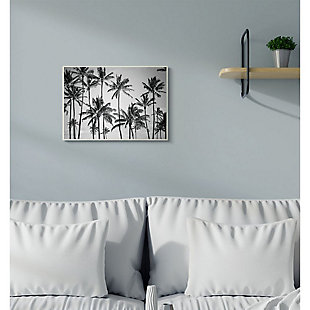 Stupell Industries  Palm Trees Skyline Black and White Photography,12 x 18,  Wood Wall Art, , rollover