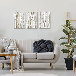 Stupell Industries  Birch Tree Forest Neutral Gray Landscape Painting Triptych Set,11 x 17,  Wood Wall Art, , rollover
