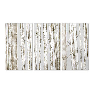 Stupell Industries  Birch Tree Forest Neutral Gray Landscape Painting Triptych Set,11 x 17,  Wood Wall Art, , large