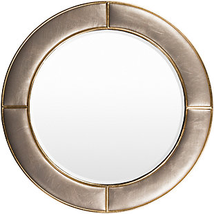 "Arial Champagne Faux Leather Frame  31.89"" x 31.89"" Mirror, , large"