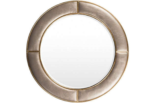 """Arial Champagne Faux Leather Frame  31.89"""" x 31.89"""" Mirror, , large"""