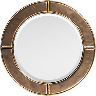 "Arial Bronze Faux Leather Frame 31.89"" x 31.89"" Mirror, , large"