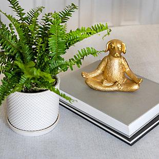 Sagebrook Home Gold Polyresin Yoga Dog Sculpture, , rollover