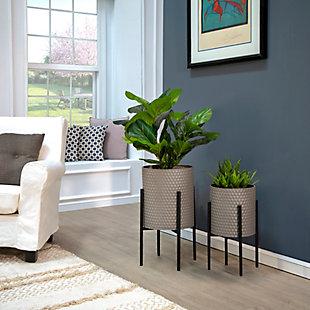 Sagebrook Home Gray Planter On Metalstand (Set of 2), , rollover