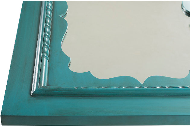 "Home Accents Hand Painted Teal 40"" x 30"" Mirror, , large"