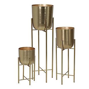 Sagebrook Home Metal Planters On Stand (Set of 3), , large