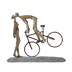 Sagebrook Home Bronze Kissing Couple With Bike, , large