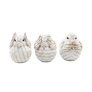 Sagebrook Home Cream Decorative Birds (Set of 3), , large