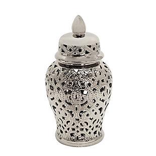 "Sagebrook Home 18"" Shiny Silver Temple Jar, , rollover"