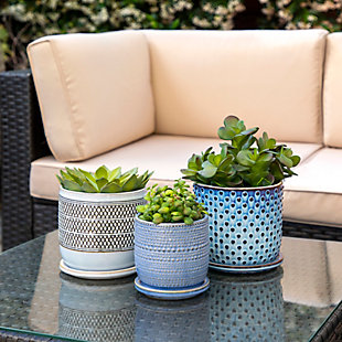 """Sagebrook Home Blue 6"""" Dotted Planter with Saucer, , rollover"""