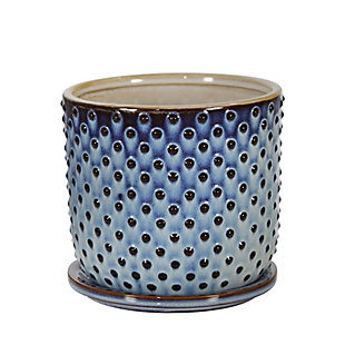 """Sagebrook Home Blue 6"""" Dotted Planter with Saucer, , large"""