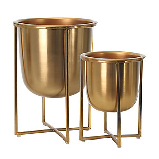 Sagebrook Home Gold Planters On Stand (Set of 2), , rollover