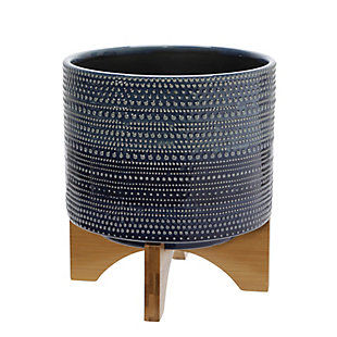 Sagebrook Home Blue Dotted Planter with Wood Stand, , large