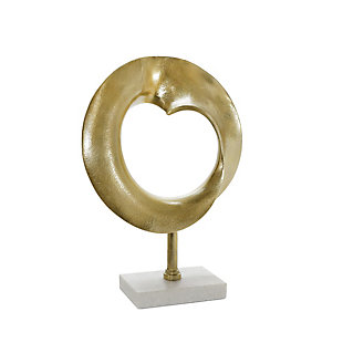 Sagebrook Home Metal Disc Sculpture with Marble Base, , large