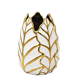 Sagebrook Home and Gold Ceramic Leaf Vase, , rollover