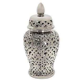 Sagebrook Home Shiny Silver Temple Jar, , large