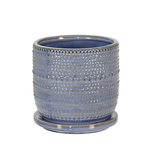 Sagebrook Home Blue Textured Planter with Saucer, , large