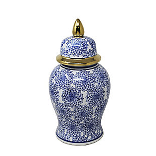 Sagebrook Home and White Temple Jar with Dalhia Flower, , large