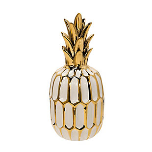 Sagebrook Home and Gold Ceramic Pineapple, , large