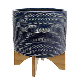Sagebrook Home Dotted Planter with Wood Stand, , large