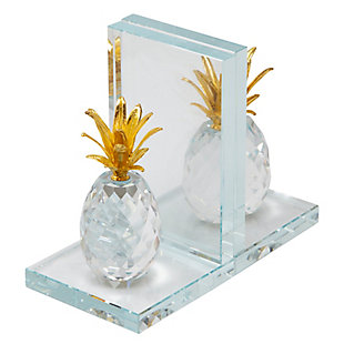 Sagebrook Home Clear Pineapple Bookends (Set of 2), , large
