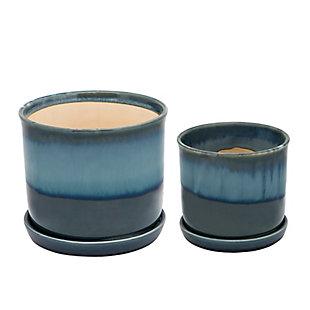 Sagebrook Home Ceramic Planter with Saucer (Set of 2), , rollover