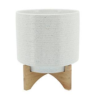 Sagebrook Home White Ceramic Planter On Stand, , rollover