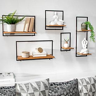 Sagebrook Home 5 Piece Wood/Metal Wall Shelves, , rollover
