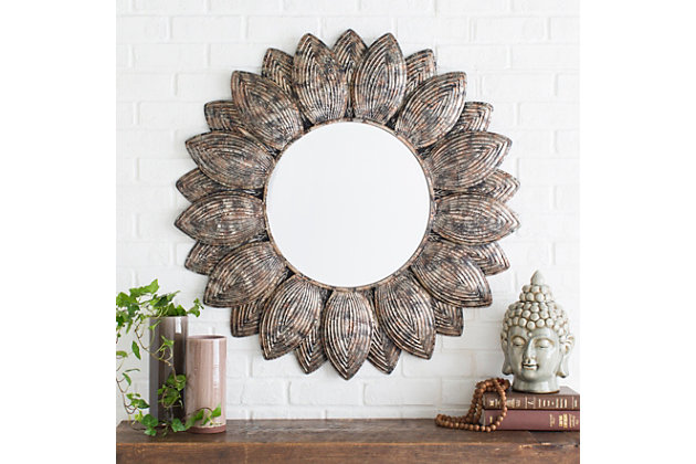 """Home Accents Flower Shape Framed 36"""" x 36"""" Mirror, , large"""