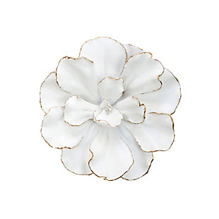 """Sagebrook Home White/Gold 10"""" Wall Flower, , rollover"""