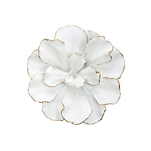 """Sagebrook Home White/Gold 10"""" Wall Flower, , large"""