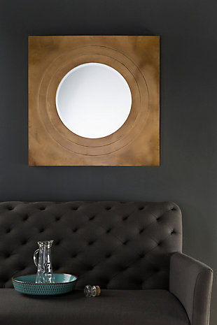 "Home Accents Square Metal 30"" x 30"" x 2.25"" Round Mirror, , rollover"