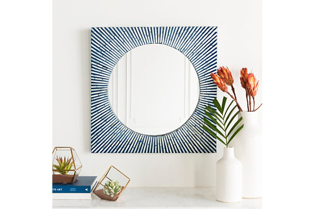 """Home Accents Blue Mother of Pearl 24"""" x 24"""" Mirror, , large"""