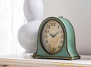 Metal Mantel Clock with Aqua Finish, , rollover